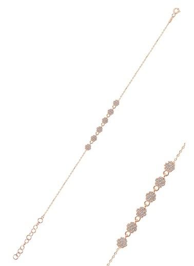 Söğütlü Silver Gümüş Rose Zirkon Taşlı Çiçek Bileklik Pembe